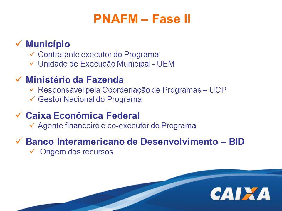 PNAFM – Fase II Município Ministério da Fazenda