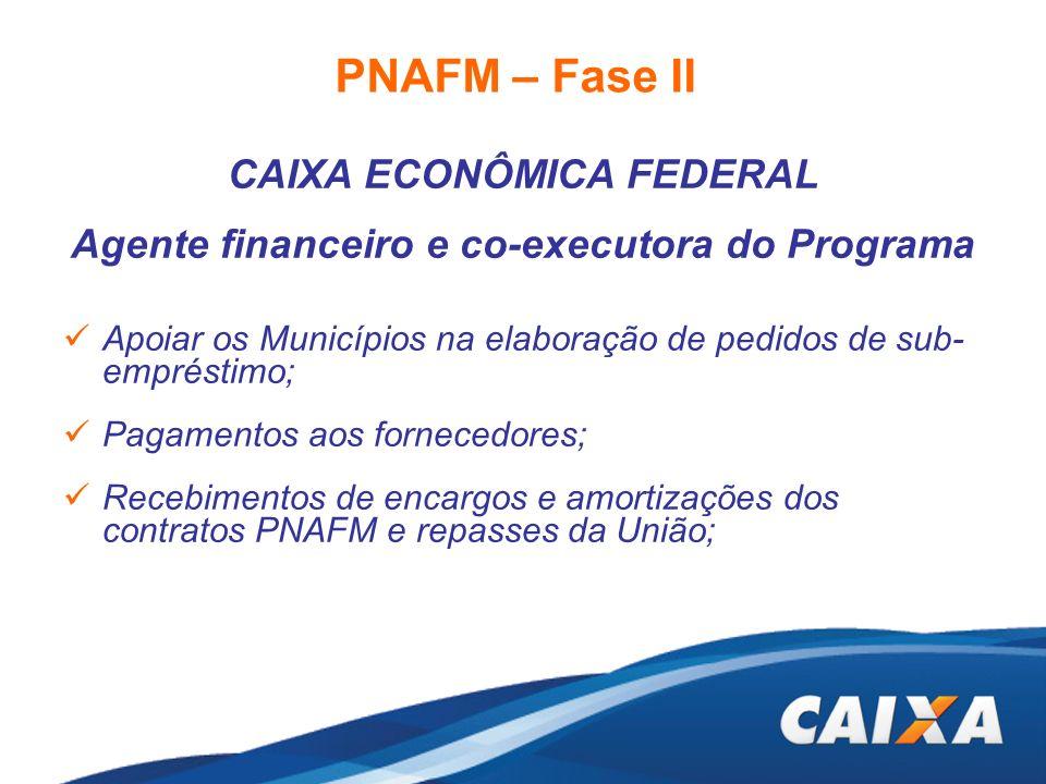 CAIXA ECONÔMICA FEDERAL Agente financeiro e co-executora do Programa