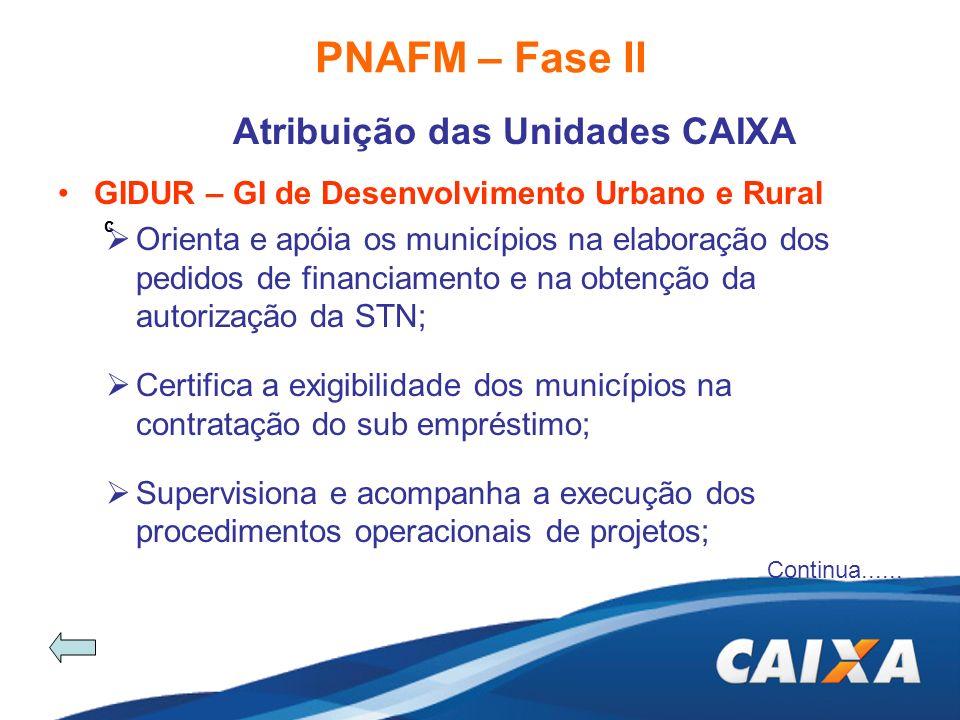 PNAFM – Fase II Atribuição das Unidades CAIXA