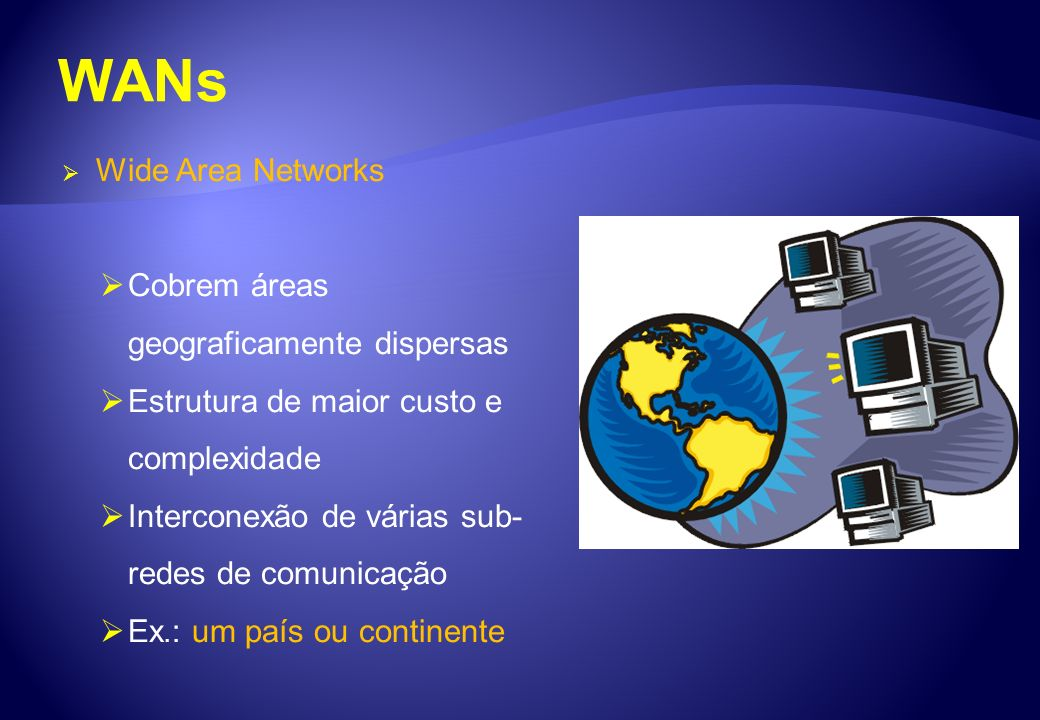 WANs Wide Area Networks Cobrem áreas geograficamente dispersas