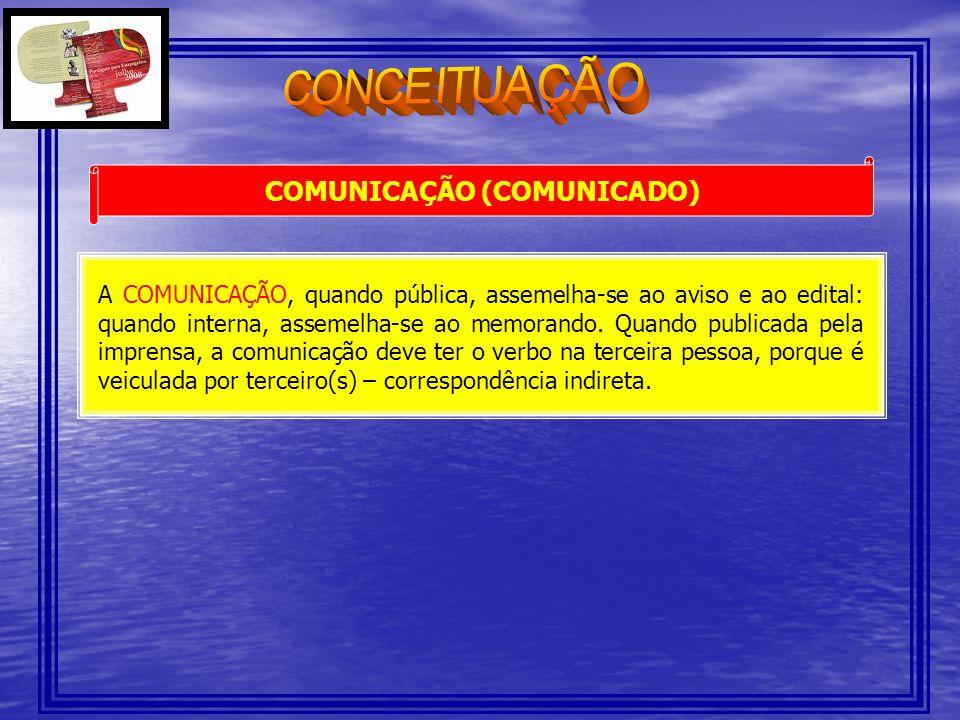 COMUNICAÇÃO (COMUNICADO)