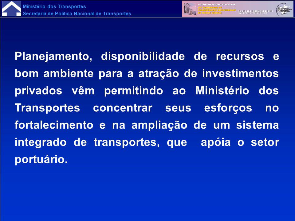 Planejamento, disponibilidade de recursos e bom ambiente para a atração de investimentos privados vêm permitindo ao Ministério dos Transportes concentrar seus esforços no fortalecimento e na ampliação de um sistema integrado de transportes, que apóia o setor portuário.