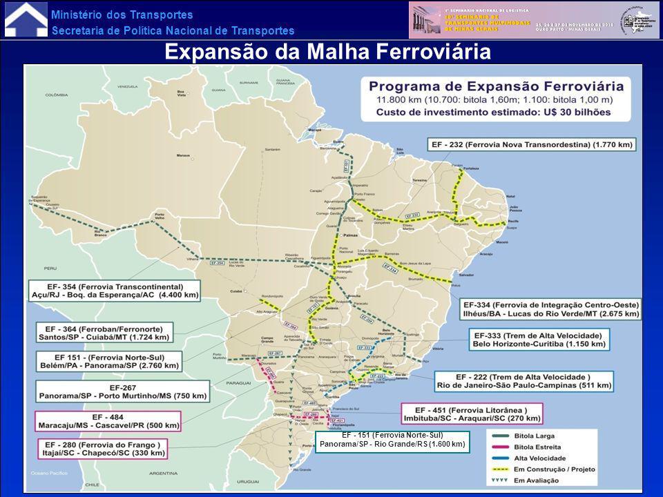 EF - 151 (Ferrovia Norte-Sul) Panorama/SP - Rio Grande/RS (1.600 km)