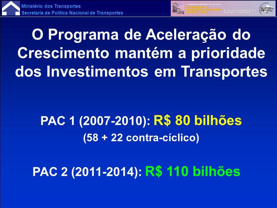 O Programa de Aceleração do Crescimento mantém a prioridade dos Investimentos em Transportes