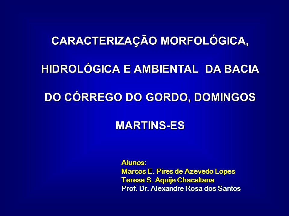 CARACTERIZAÇÃO MORFOLÓGICA, HIDROLÓGICA E AMBIENTAL DA BACIA DO CÓRREGO DO GORDO, DOMINGOS MARTINS-ES