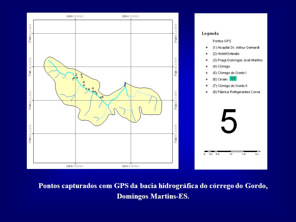 Pontos capturados com GPS da bacia hidrográfica do córrego do Gordo, Domingos Martins-ES.