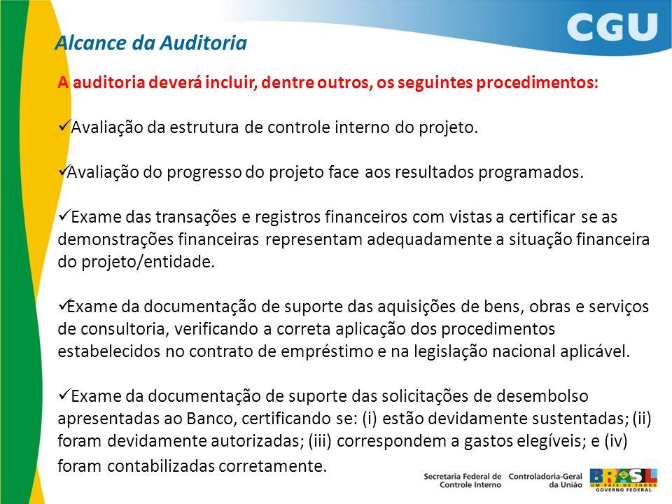 Alcance da AuditoriaA auditoria deverá incluir, dentre outros, os seguintes procedimentos: Avaliação da estrutura de controle interno do projeto.