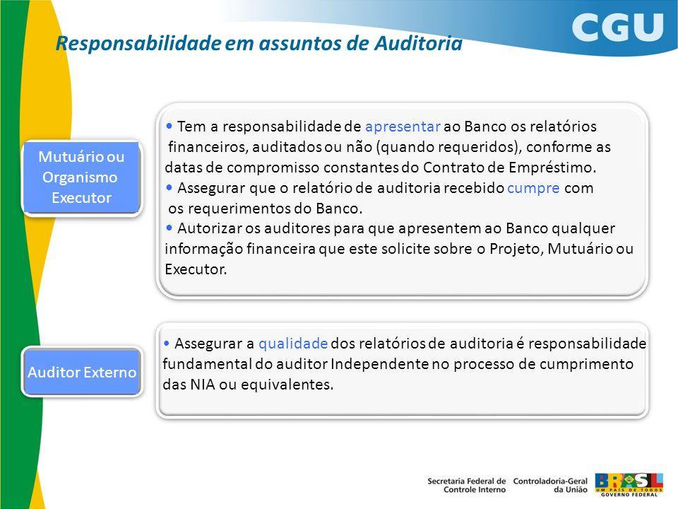Responsabilidade em assuntos de Auditoria
