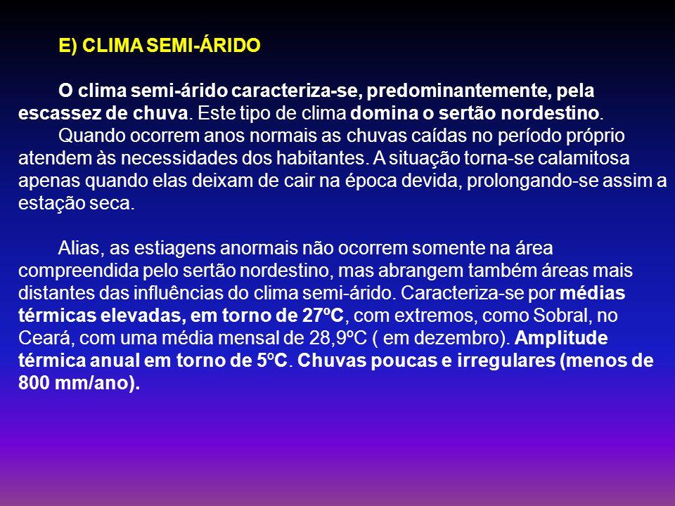 E) CLIMA SEMI-ÁRIDO O clima semi-árido caracteriza-se, predominantemente, pela escassez de chuva. Este tipo de clima domina o sertão nordestino.