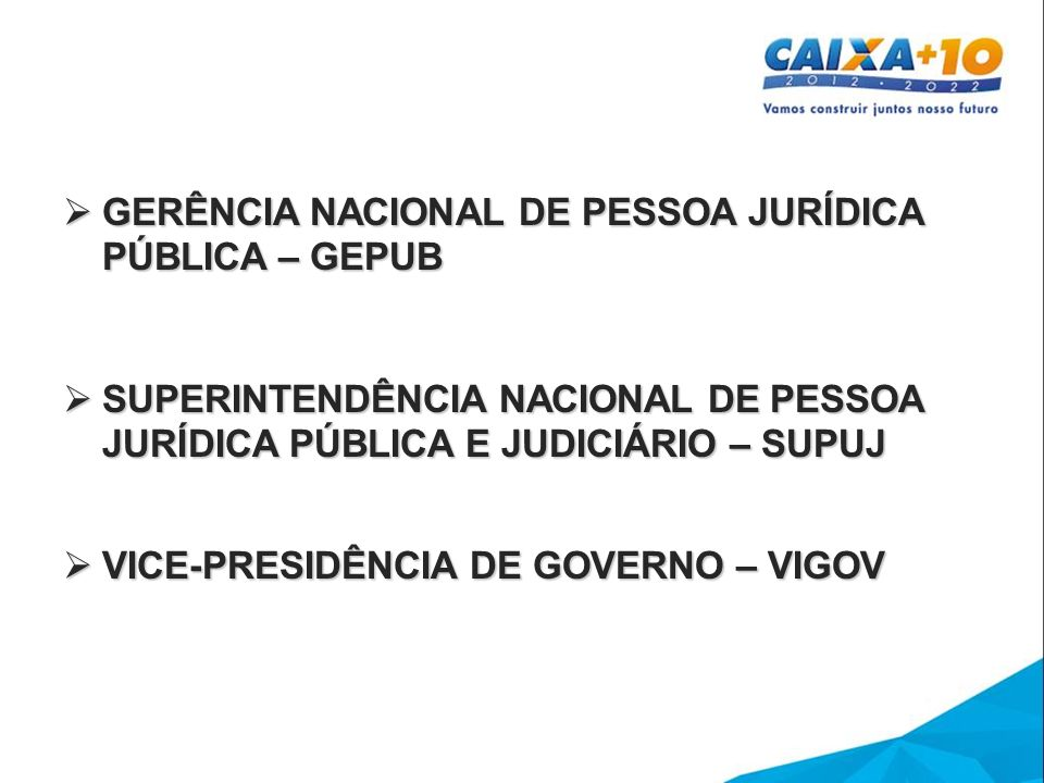 GERÊNCIA NACIONAL DE PESSOA JURÍDICA PÚBLICA – GEPUB