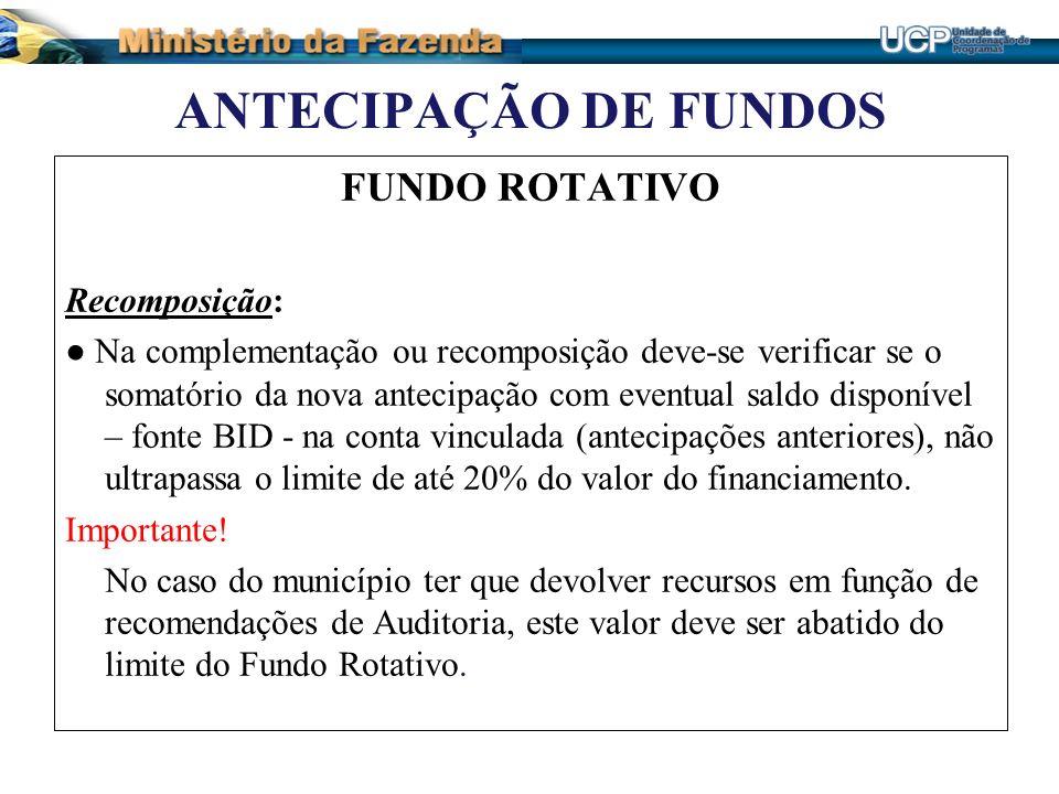 ANTECIPAÇÃO DE FUNDOS FUNDO ROTATIVO Recomposição: