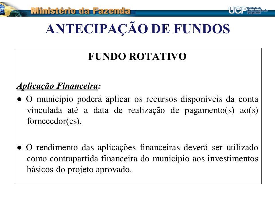 ANTECIPAÇÃO DE FUNDOS FUNDO ROTATIVO Aplicação Financeira: