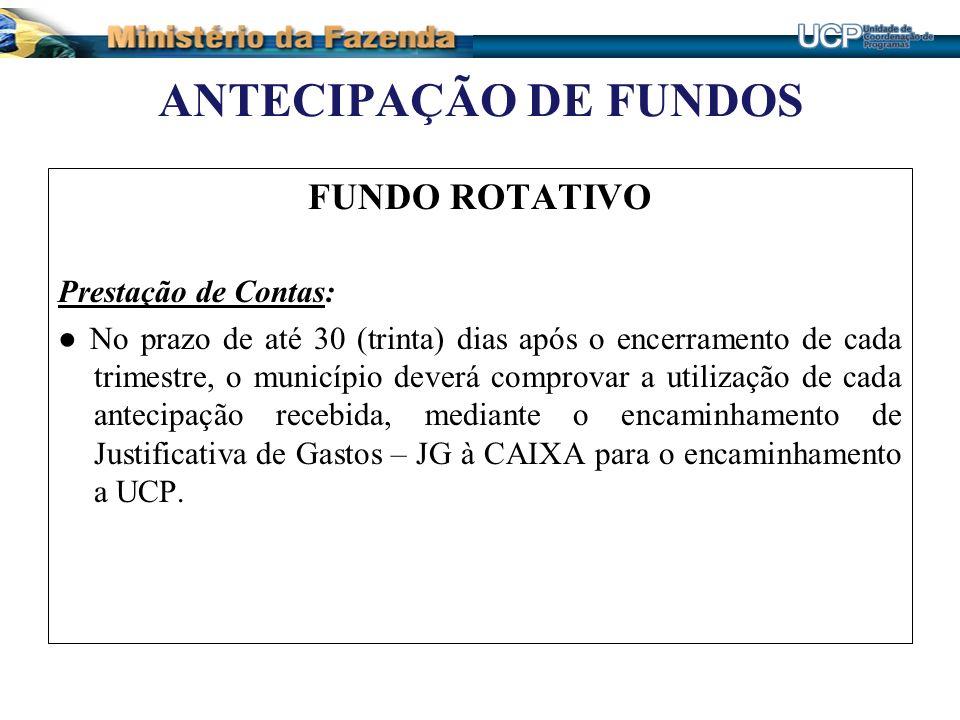 ANTECIPAÇÃO DE FUNDOS FUNDO ROTATIVO Prestação de Contas: