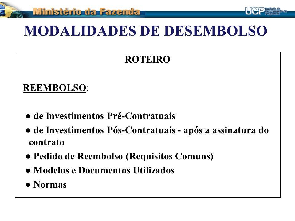 MODALIDADES DE DESEMBOLSO