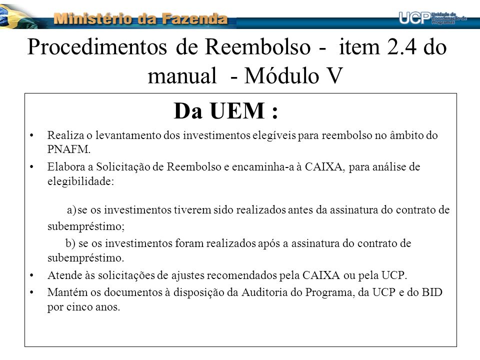 Procedimentos de Reembolso - item 2.4 do manual - Módulo V