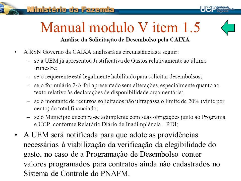 Manual modulo V item 1.5 Análise da Solicitação de Desembolso pela CAIXA