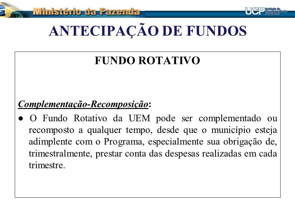 ANTECIPAÇÃO DE FUNDOS FUNDO ROTATIVO Complementação-Recomposição: