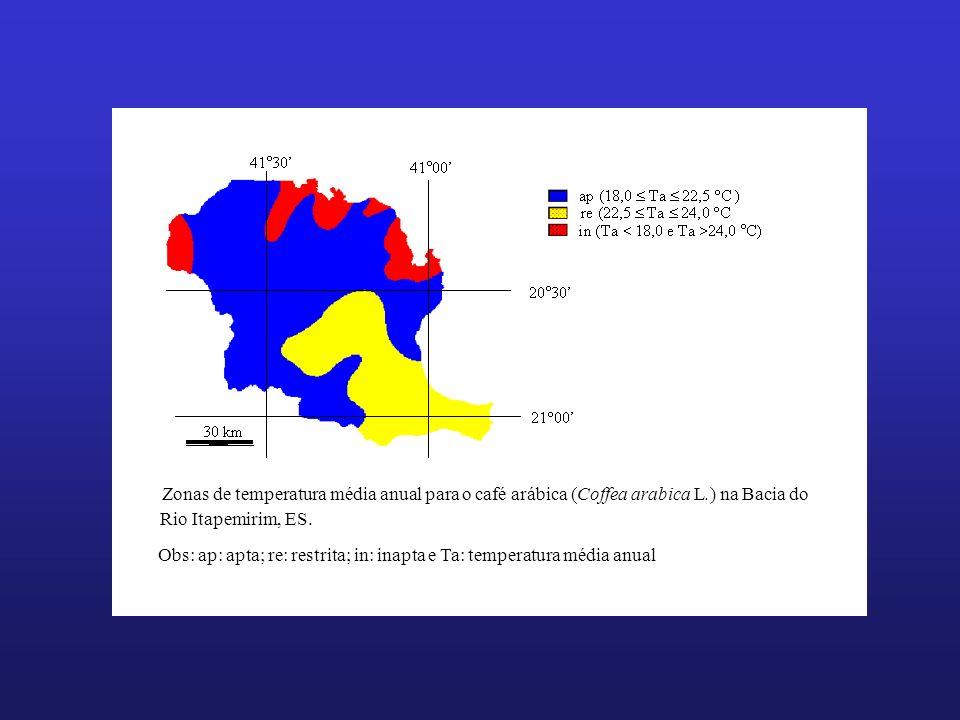 Zonas de temperatura média anual para o café arábica (Coffea arabica L