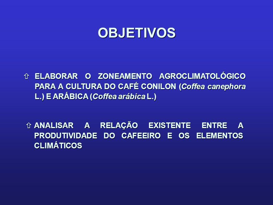 OBJETIVOS ELABORAR O ZONEAMENTO AGROCLIMATOLÓGICO PARA A CULTURA DO CAFÉ CONILON (Coffea canephora L.) E ARÁBICA (Coffea arábica L.)