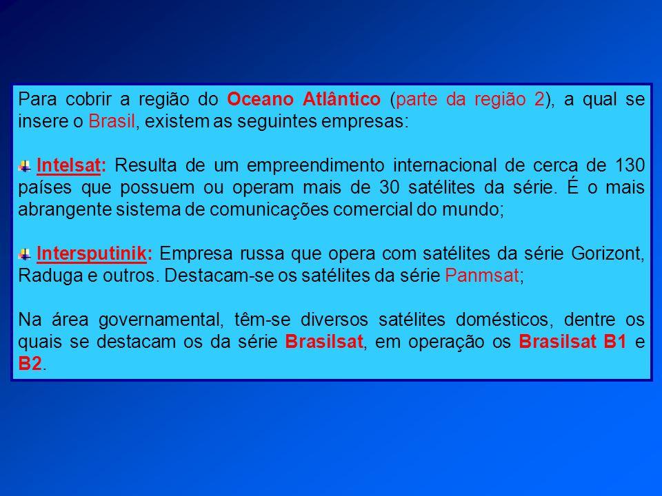 Para cobrir a região do Oceano Atlântico (parte da região 2), a qual se insere o Brasil, existem as seguintes empresas: