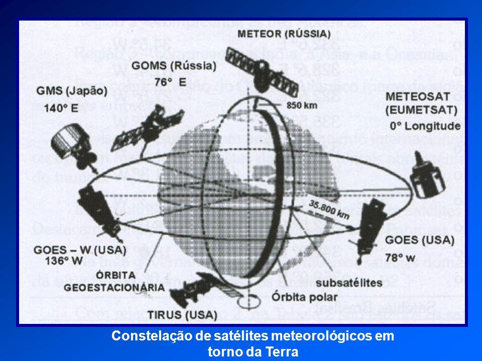 Constelação de satélites meteorológicos em torno da Terra