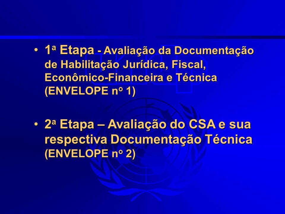 1a Etapa - Avaliação da Documentação de Habilitação Jurídica, Fiscal, Econômico-Financeira e Técnica (ENVELOPE no 1)