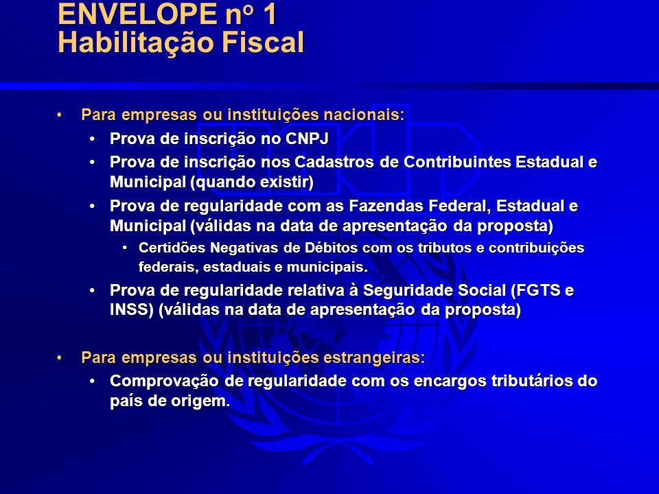 ENVELOPE no 1 Habilitação Fiscal