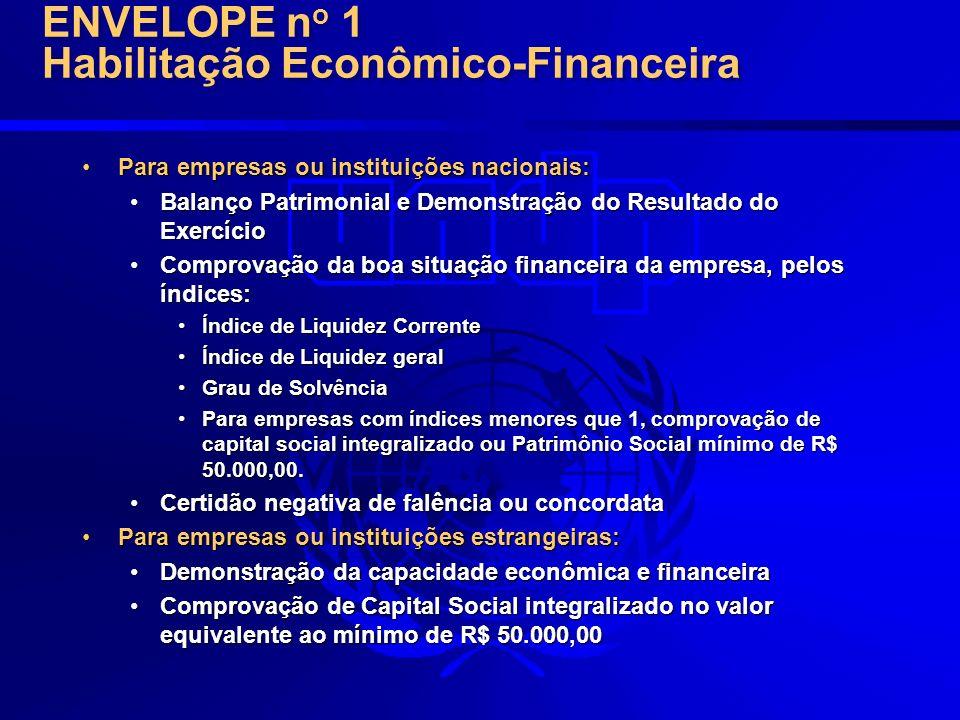 ENVELOPE no 1 Habilitação Econômico-Financeira
