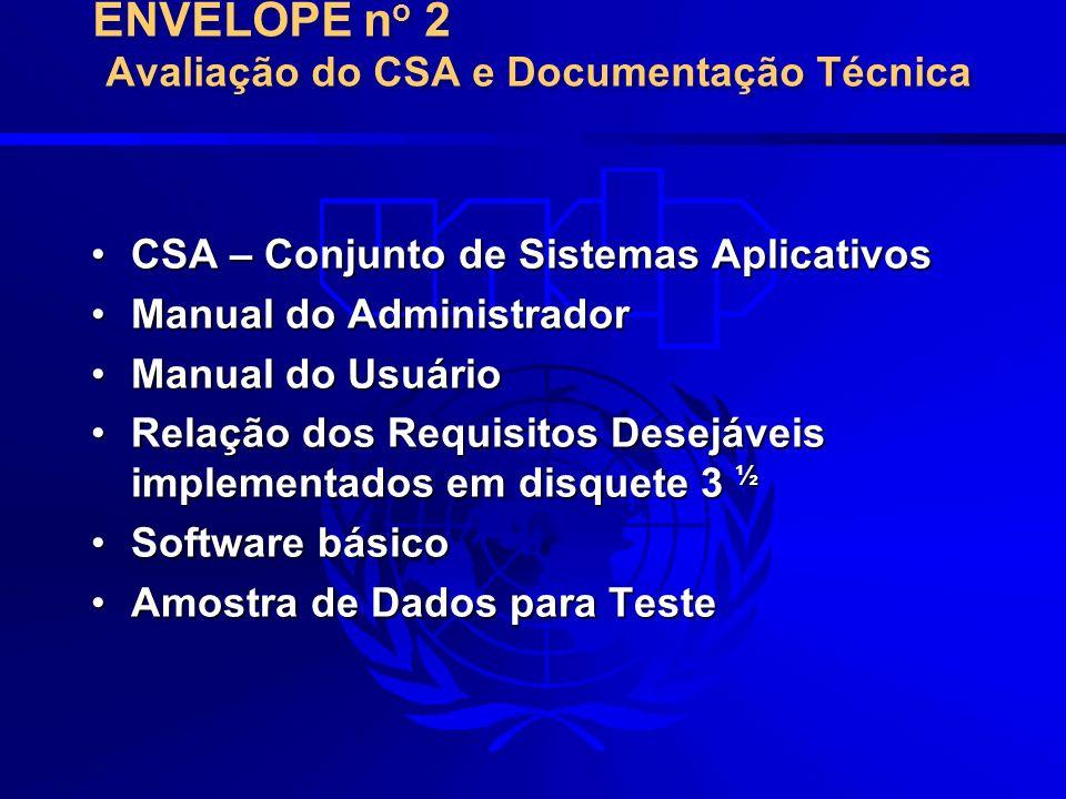 ENVELOPE no 2 Avaliação do CSA e Documentação Técnica