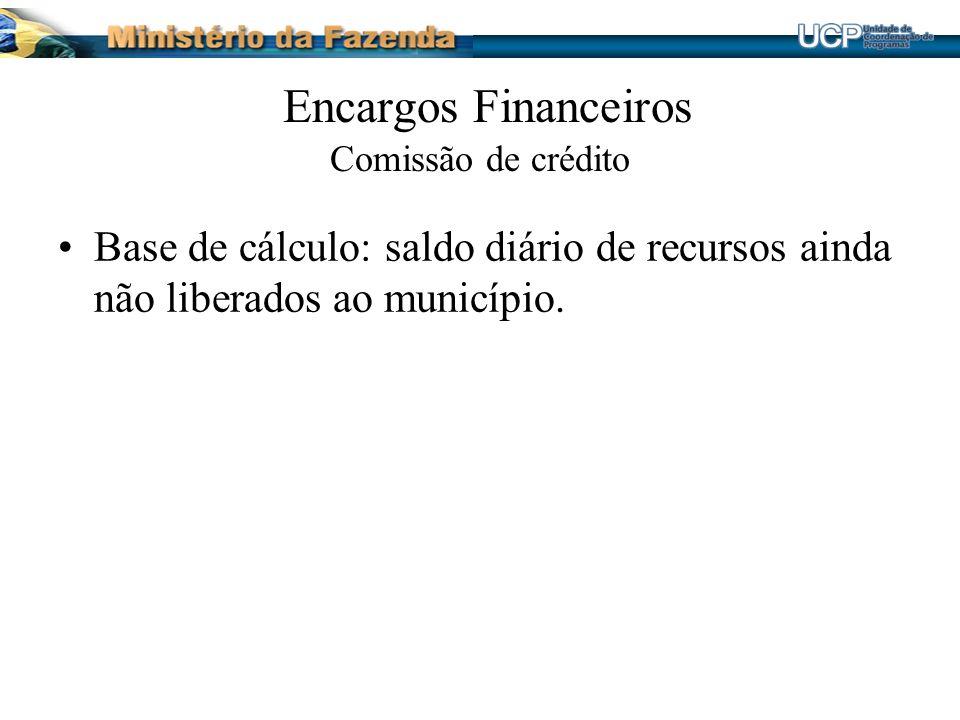 Encargos Financeiros Comissão de crédito