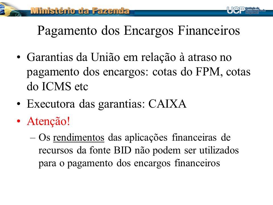 Pagamento dos Encargos Financeiros