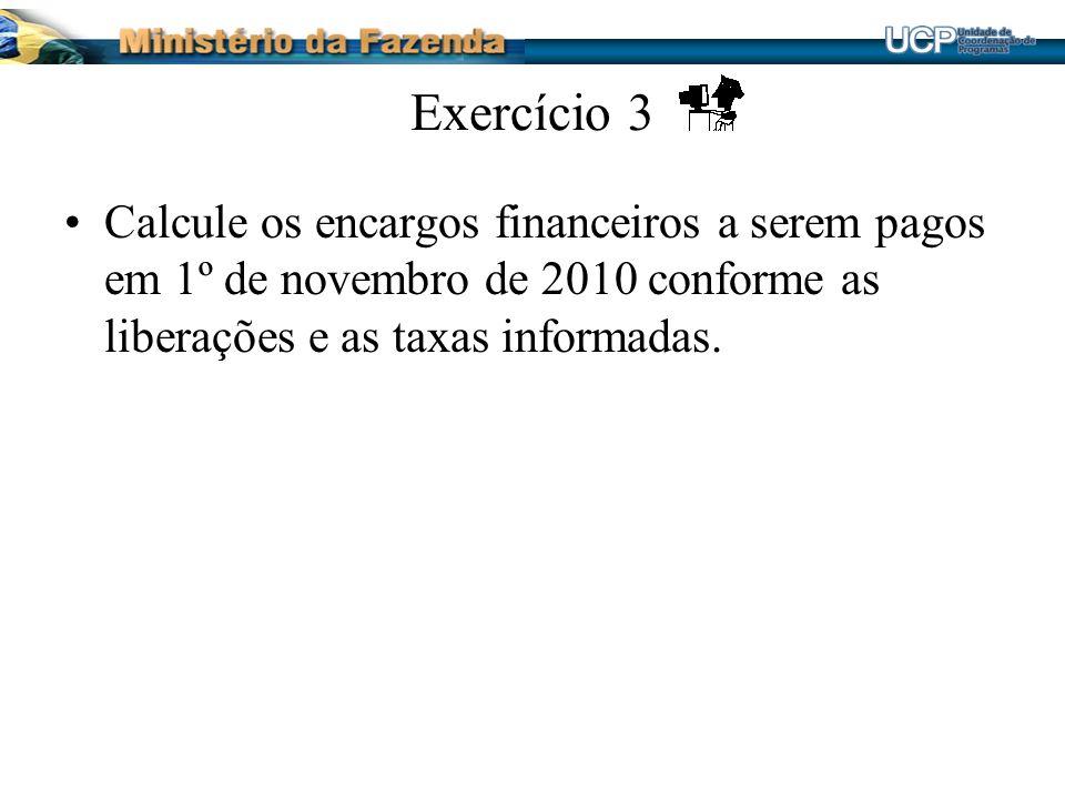Exercício 3 Calcule os encargos financeiros a serem pagos em 1º de novembro de 2010 conforme as liberações e as taxas informadas.