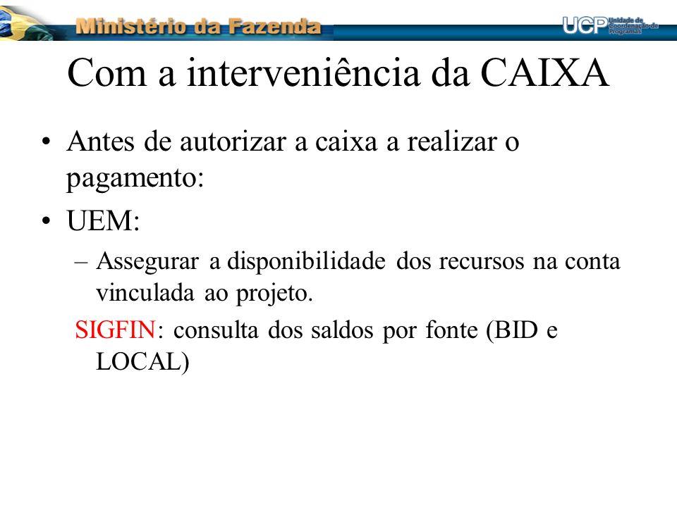 Com a interveniência da CAIXA