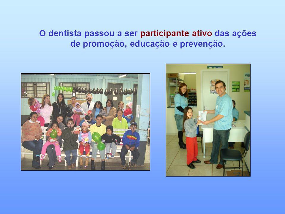 O dentista passou a ser participante ativo das ações de promoção, educação e prevenção.