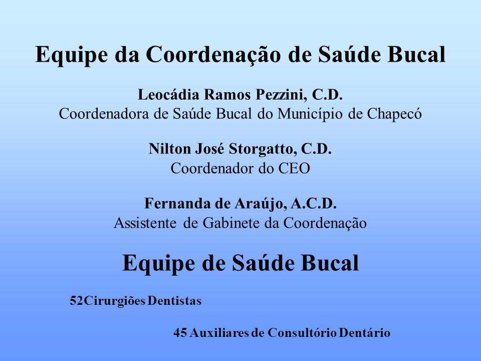 Equipe da Coordenação de Saúde Bucal Nilton José Storgatto, C.D.