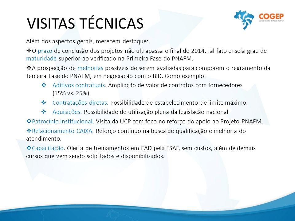 VISITAS TÉCNICAS Além dos aspectos gerais, merecem destaque: