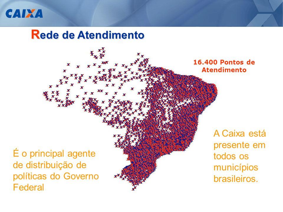Rede de Atendimento 16.400 Pontos de Atendimento. A Caixa está presente em todos os municípios brasileiros.