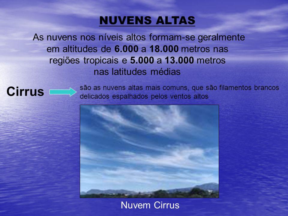 Cirrus NUVENS ALTAS As nuvens nos níveis altos formam-se geralmente