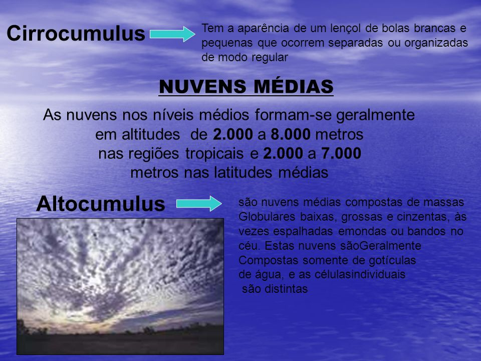 Cirrocumulus Altocumulus NUVENS MÉDIAS