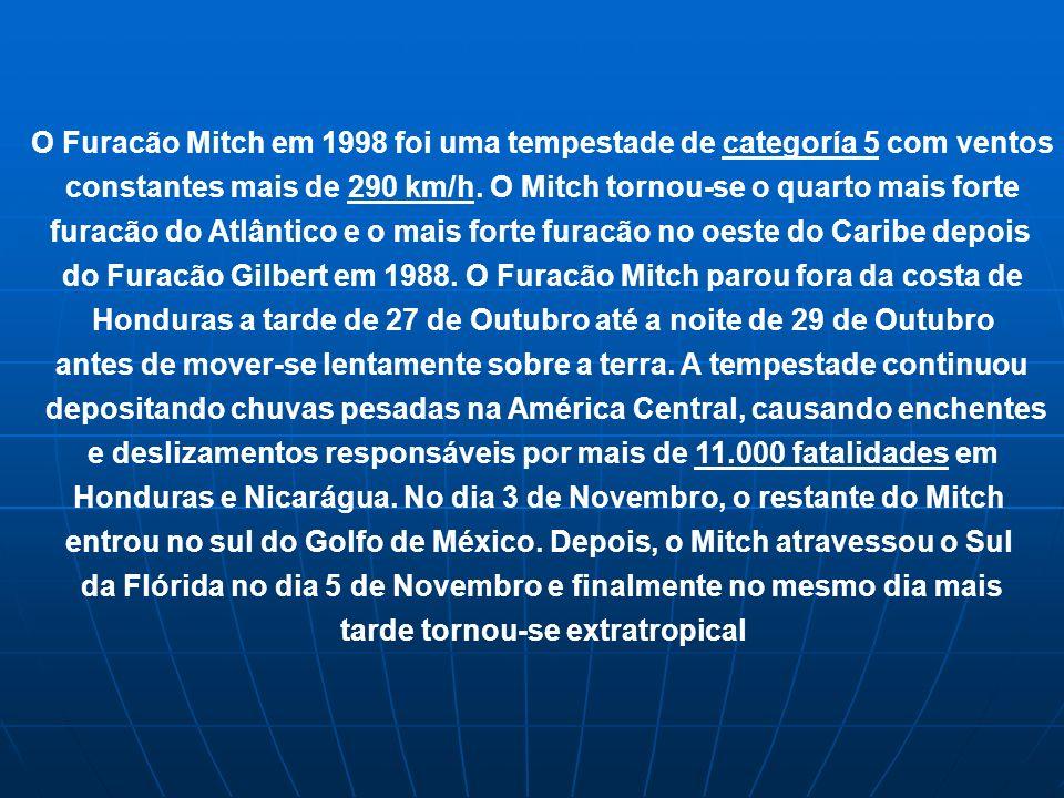 O Furacão Mitch em 1998 foi uma tempestade de categoría 5 com ventos