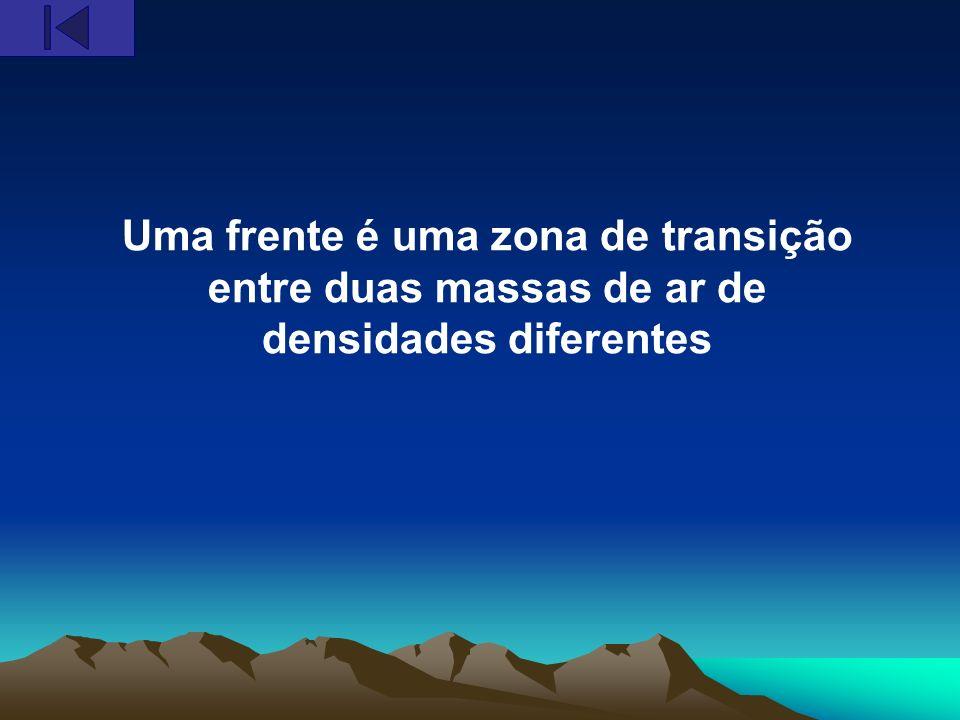 Uma frente é uma zona de transição entre duas massas de ar de densidades diferentes