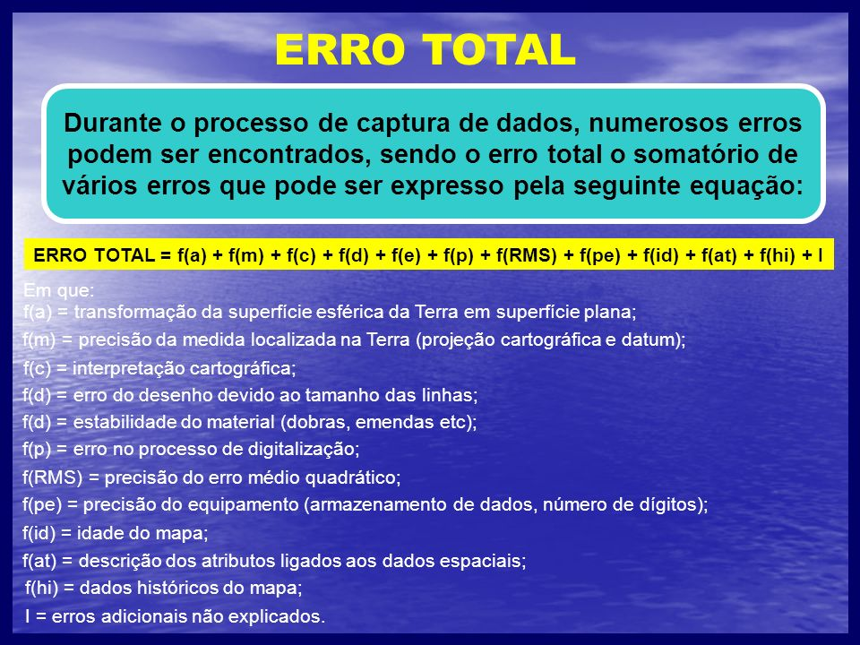 ERRO TOTAL Durante o processo de captura de dados, numerosos erros