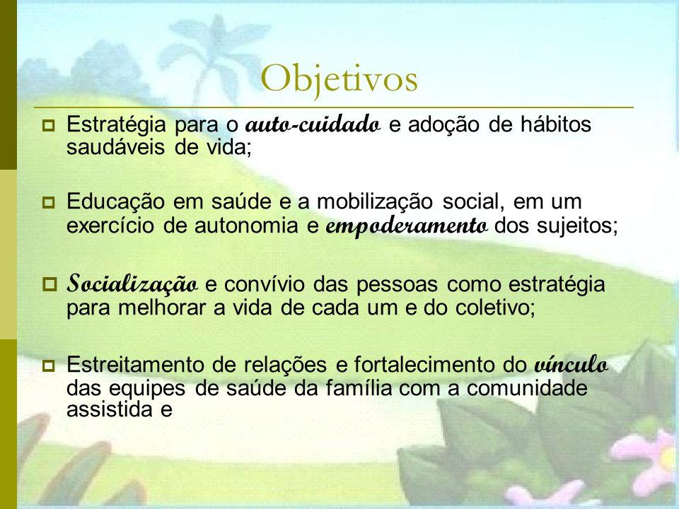 Objetivos Estratégia para o auto-cuidado e adoção de hábitos saudáveis de vida;