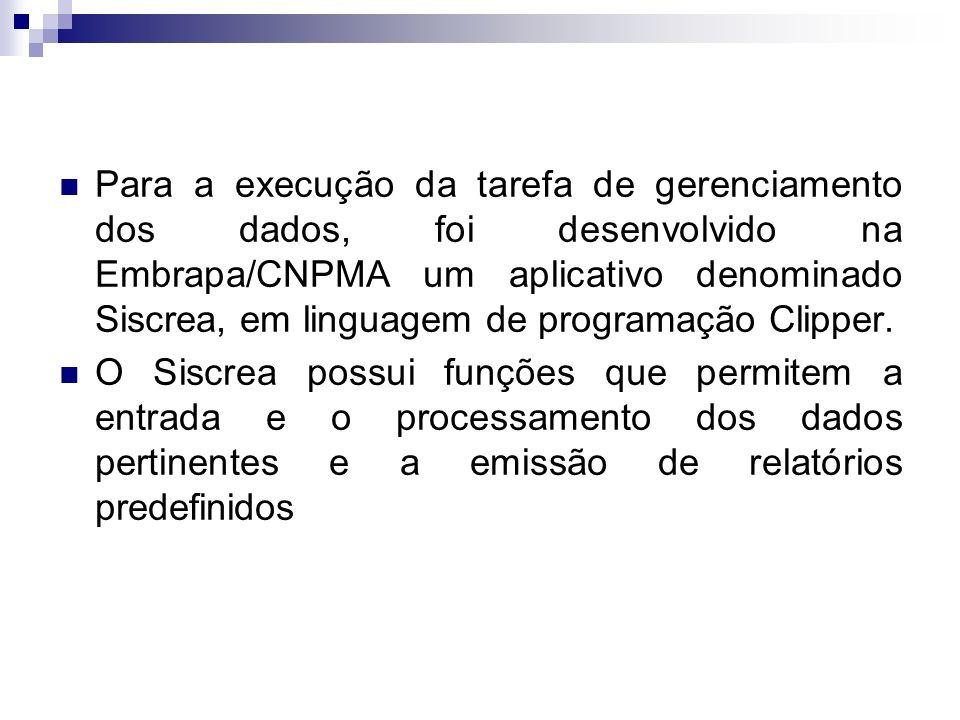 Para a execução da tarefa de gerenciamento dos dados, foi desenvolvido na Embrapa/CNPMA um aplicativo denominado Siscrea, em linguagem de programação Clipper.