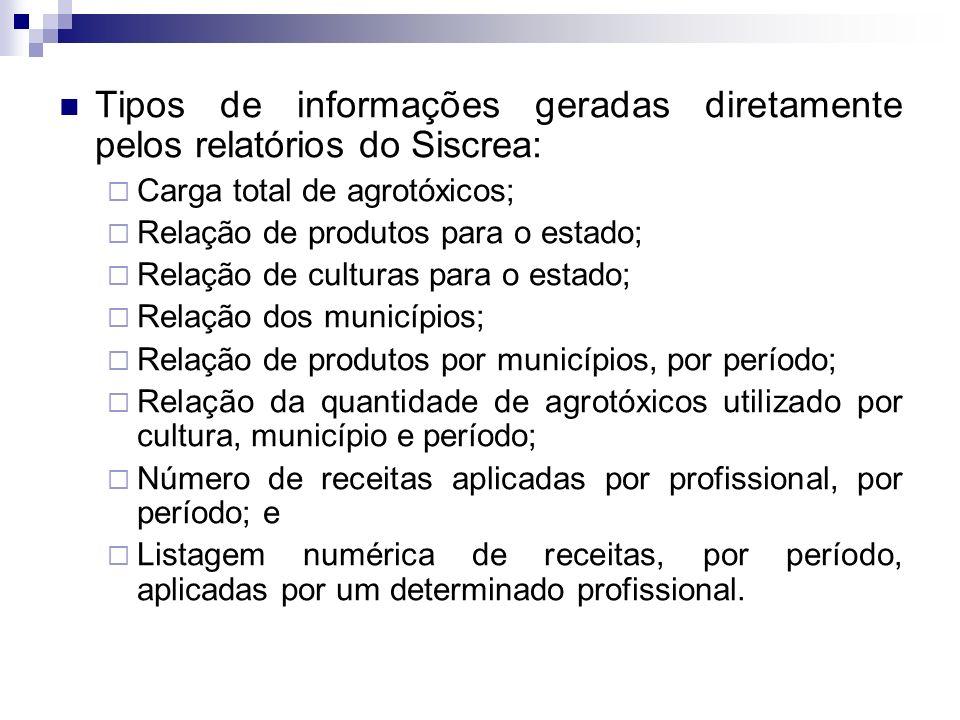 Tipos de informações geradas diretamente pelos relatórios do Siscrea: