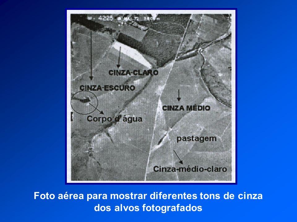 Foto aérea para mostrar diferentes tons de cinza dos alvos fotografados