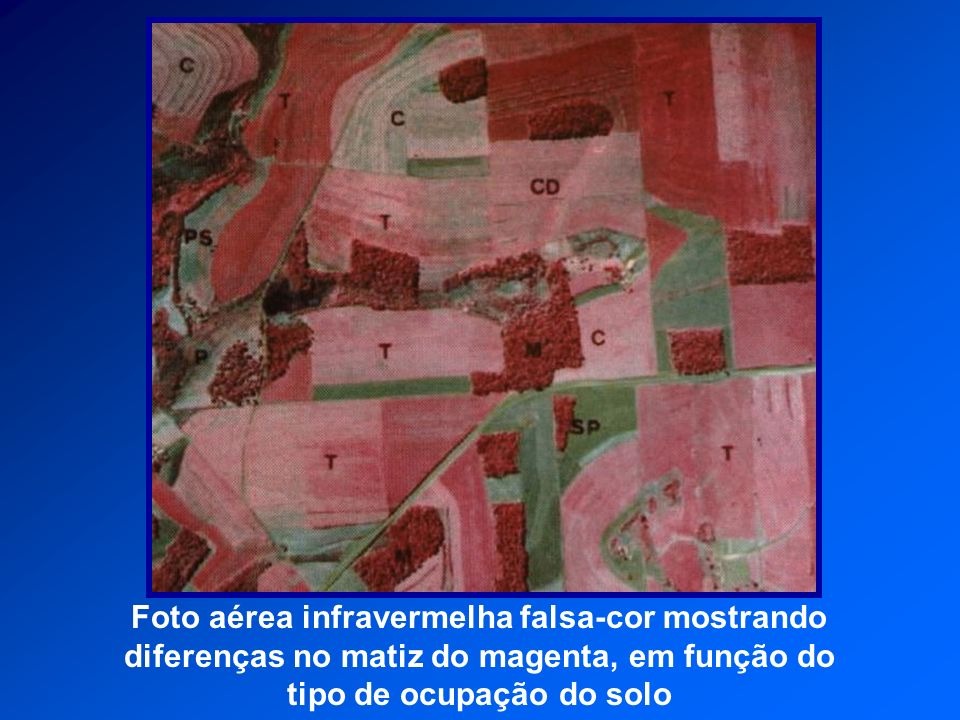 Foto aérea infravermelha falsa-cor mostrando diferenças no matiz do magenta, em função do tipo de ocupação do solo