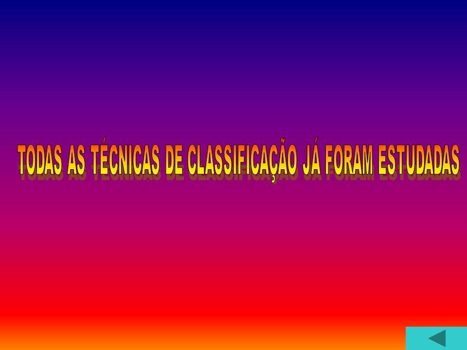 TODAS AS TÉCNICAS DE CLASSIFICAÇÃO JÁ FORAM ESTUDADAS