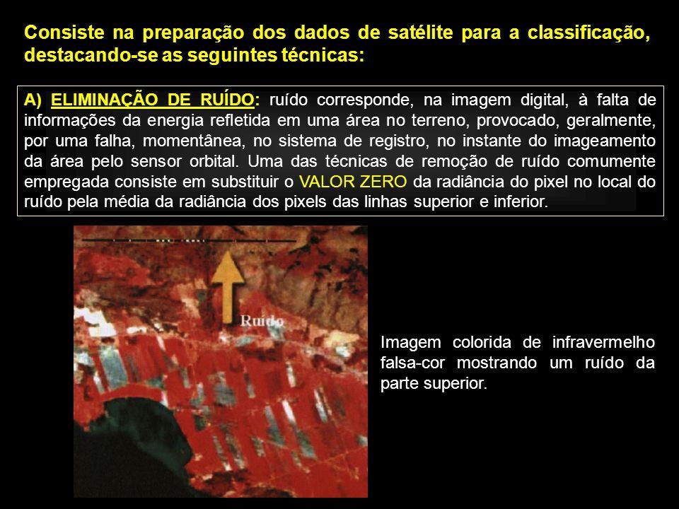 Consiste na preparação dos dados de satélite para a classificação, destacando-se as seguintes técnicas: