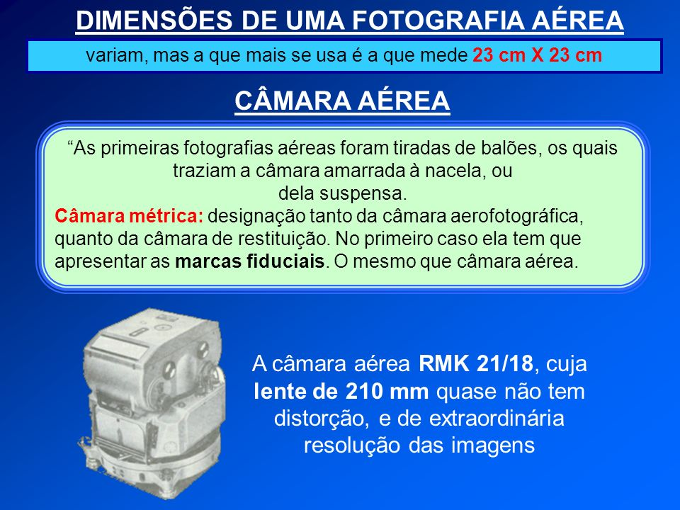 DIMENSÕES DE UMA FOTOGRAFIA AÉREA